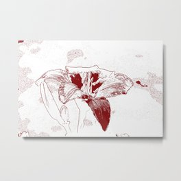 Day Lily Print in Red Metal Print