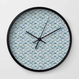 Fish Scales Geometric Pattern in Blue Green Wall Clock