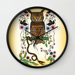 Vibrant Jungle Owl and Snake Wall Clock