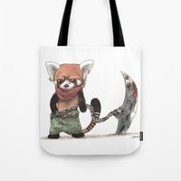 bouletcorp Tote Bags featuring Panda Roux Barbare by Bouletcorp