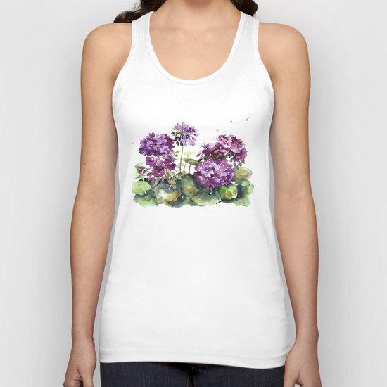 Purple violet pelargonium geranium flowers watercolor Unisex Tank Top