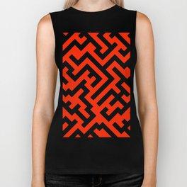 Black and Scarlet Red Diagonal Labyrinth Biker Tank