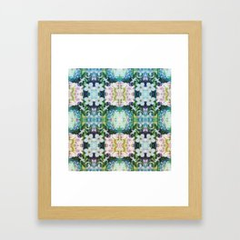 Blue Floral Kaleidoscope Framed Art Print
