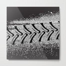 Black Grunge Farm Vehicle Tyre Tracks Metal Print