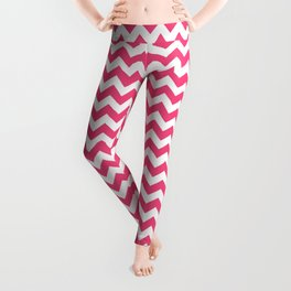 Chevrons White & Pink Leggings