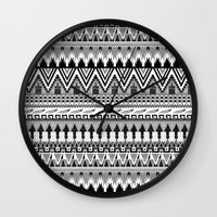 whisky Wall Clocks featuring WHISKY AZTEC B/W  by Kiley Victoria