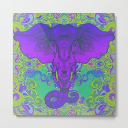Purple Ganesha Metal Print