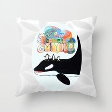 TIME IS A MYTH, penguins singing on a whale Throw Pillow