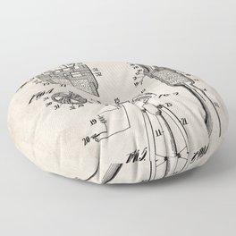 Rocket Ship Patent - Nasa Rocketship Art - Antique Floor Pillow