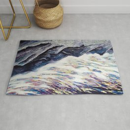 Undulate (Rocky Mountain/ Sea Crashing scene in Deep Purples) Rug