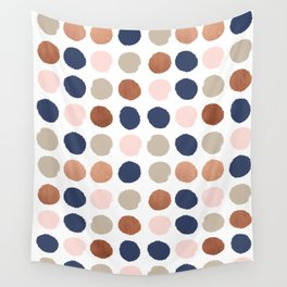 Rose Gold navy copper sparkle modern dots polka dots rosegold trendy pattern cell phone accessories Wall Tapestry