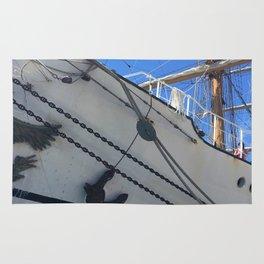 Old Sailing Ship In Port Rug