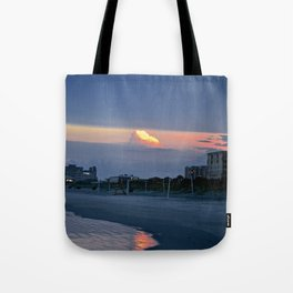 Cloudy Beach Reflection Tote Bag