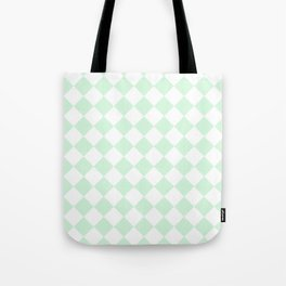 Diamonds - White and Pastel Green Tote Bag