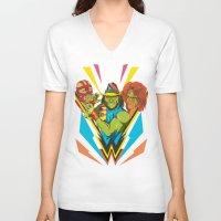 wrestling V-neck T-shirts featuring Classic Wrestling by RJ Artworks
