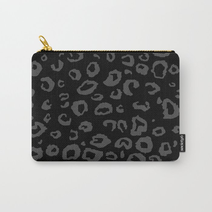 Black and Gray Leopard Carry-All Pouch