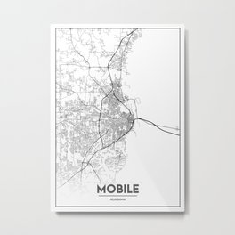 Minimal City Maps - Map Of Mobile, Alabama, United States Metal Print