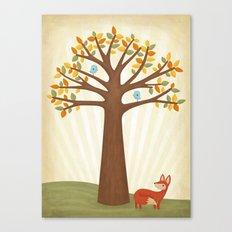 Autumn and the Fox Canvas Print