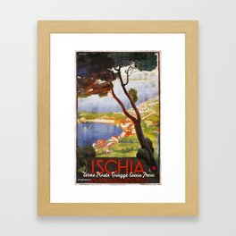 Ischia Island Italy summer travel ad Framed Art Print