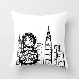 From Russia To Manhattan Throw Pillow