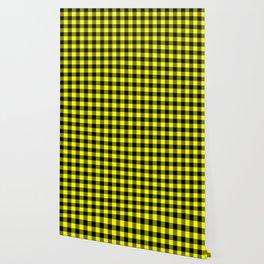 Bright Yellow and Black Lumberjack Buffalo Plaid Fabric Wallpaper