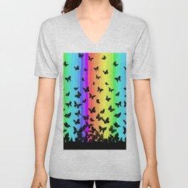 Rainbow butterflies Unisex V-Neck