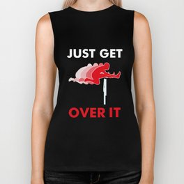 Track & Field Hurdle Gift: Just Get Over It I Running Biker Tank