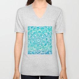 Aqua Turquoise Sparkle Doodle Pattern Unisex V-Neck