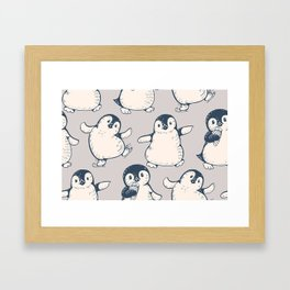 Monochrome seamless pattern with cute penguins. Hand-drawn illustration Framed Art Print