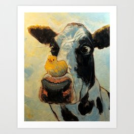 Chick and Cow Art Print