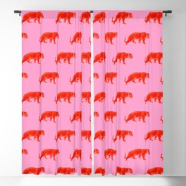 Vintage Cheetahs in Coral + Red Blackout Curtain