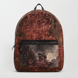 Copper Glitter Stone and Ink Abstract Gem Glamour Marble Backpack