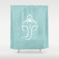 hindu Shower Curtains featuring Blue Ganesh - Hindu Elephant Deity by Sparkle&Glitter