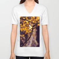 bokeh V-neck T-shirts featuring Bokeh by Beata Heart