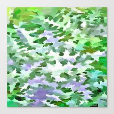 Foliage Abstract In Green and Mauve Canvas Print