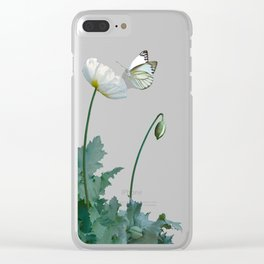 Spade's White Poppies Clear iPhone Case