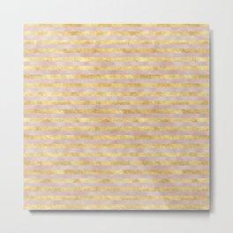 Gold Glitzy Pink Stripes Metal Print