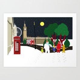 Christmas Gang in London Art Print