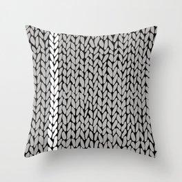 Grey Knit With White Stripe Throw Pillow