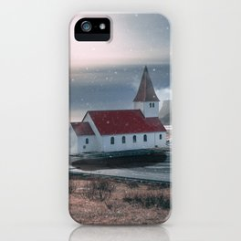 Floating Building in Vik Iceland iPhone Case