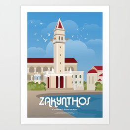 Zakynthos, The bell tower of St. Dionysios (GR) Art Print
