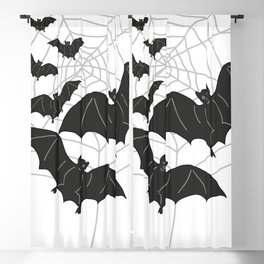 Black Bats with Spider Web Halloween Blackout Curtain