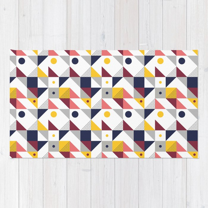 Geometric shapes retro pattern Rug