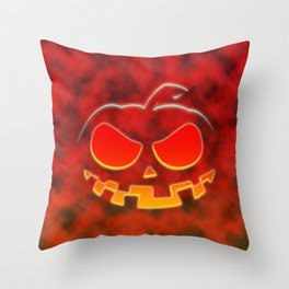 Screaming Pumpkin Throw Pillow