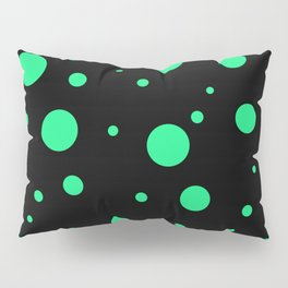 Green Bubbles On Black Pillow Sham