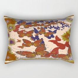 Grungy Creamy-Brown Butterflies Floral pattern Design Rectangular Pillow