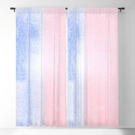 Blue and Red watercolor block Blackout Curtain