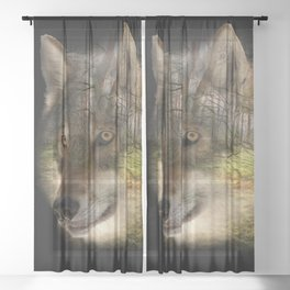 Wolf in the Forrest Sheer Curtain