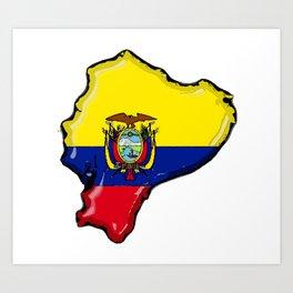 Ecuador Map with Ecuadorian Flag Art Print