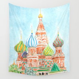 Moscow Saint Basils Cathedral watercolor  Wall Tapestry